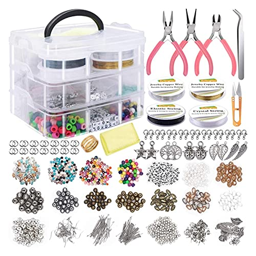 RJJX Jewelry Making Supplies Kit Jewelry Making Tools Kit Includes Beads Wire For Bracelet And Pearl Beads Spacer Beads Jewelry Plier (Color : As shown)
