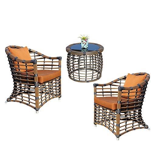 ZHFC Mesa y silla para exteriores, combinación de balcón, ratán, tres piezas, sillón de jardín exterior, cojín de fibra naranja y mimbre marrón