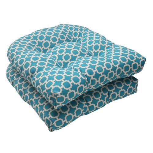 Pillow Perfect Outdoor/Indoor Hockley Teal Tufted Seat Cushions (Round Back), 19' x 19', Blue, 2 Pack