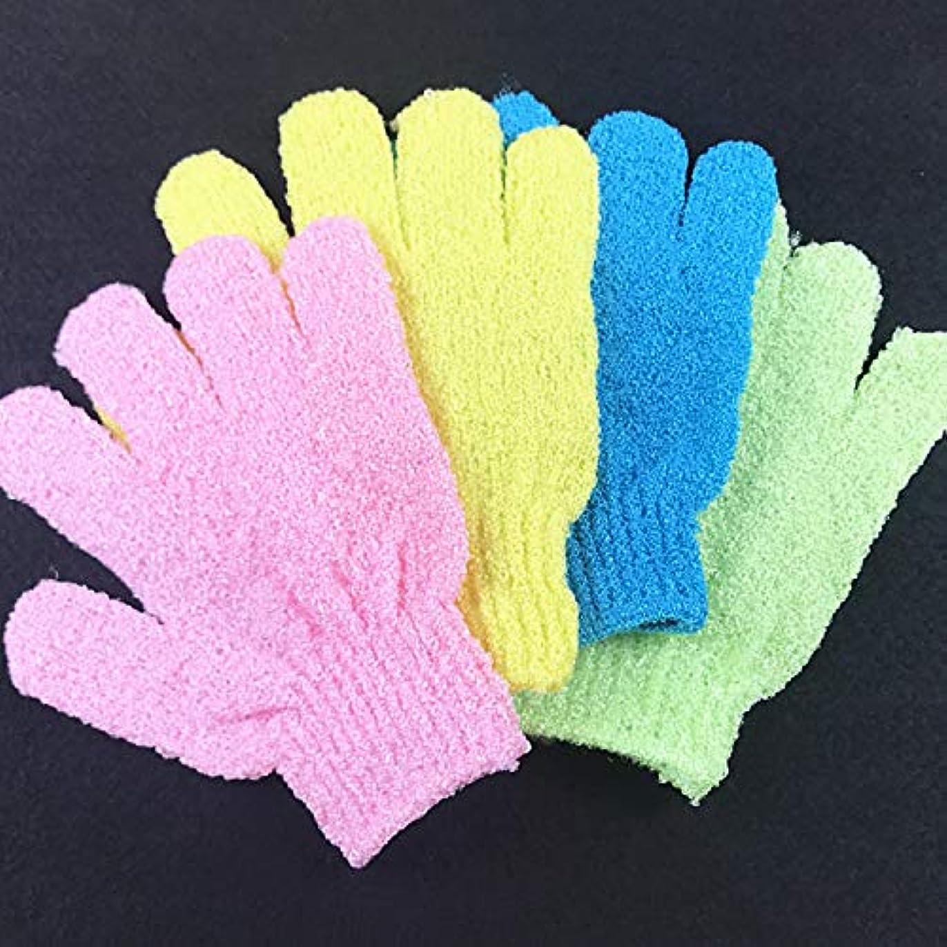 採用ラックロケットお風呂用手袋 浴用手袋 角質除去 入浴用品 垢すり用グローブ 抗菌加工 泡立ち 男女兼用 5枚セット (色のランダム)