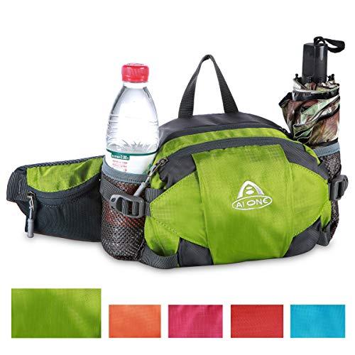 Bauchtasche 3 Liter Bauchtasche Hüfttasche mit Wasserflaschenhalter für Männer Frauen Walking Laufen Hüfttasche für Reisen Wandern Laufen Radfahren Outdoor Sport Hund Walking, grün