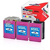 Kingway ECO-Saver Ink Cartridges Replacement for HP 65XL 65 XL N9K04AN for Envy 5055 5052 5058 DeskJet 3755 2655 3720 3722 3723 3752 3758 2652 2624 High Yield (3 TRI-Color)