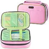 Homecube - Estuche para lápices con 3 compartimentos, estuche para lápices para niños y niñas, gran capacidad con compartimento interior, tapa con cremallera (versión rosa)