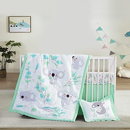 Little Grape Land 4 Piece Crib Bedding Sets Neutral Nursery Bedding Set Boys and Girls Baby Newborn Koala Crib Quilt, Crib Sheet, Crib Skirt, Pillow Case
