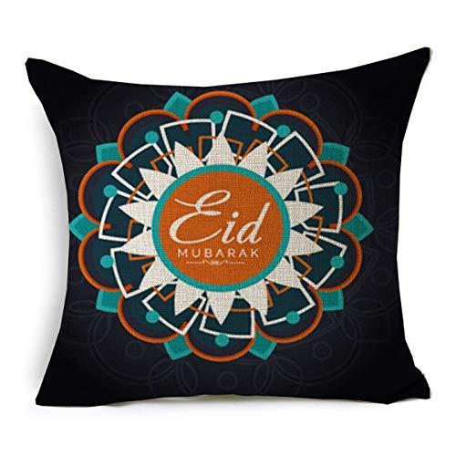QPOWY Fundas de Cojines Ramadan Kareem East Acuarela Funda de cojín Funda de Almohada de Lino Beige para sofá sofá