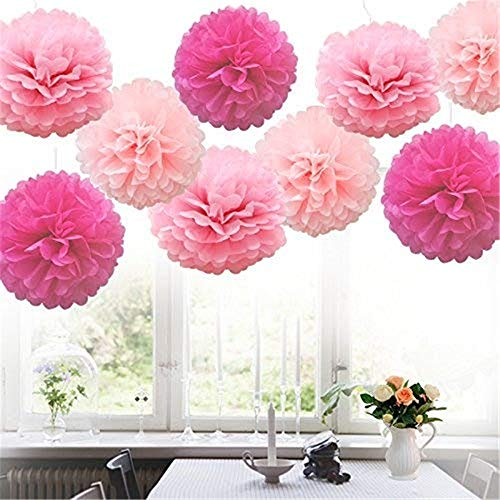 Shirt Luv 9pcs Tissue Paper Pompoms Flower Balls Fluffy Christmas Wedding Party Decoration Fall Decor for Home Farmhouse Ornaments
