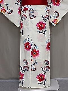 キスミスの浴衣 レディースゆかた 仕立上り浴衣 クリーム色のゆかた フリーサイズ D0654-05