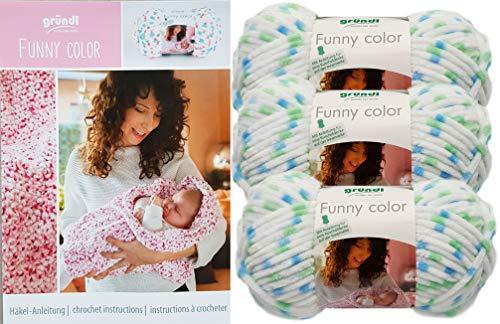 Gründl Funny Color 3x100 Gramm Softgarn kuschelliges Garn aus 100% Polyester (3er Set 04 Mint Blau Weiss Mix) + Häkelanleitungsheft für eine Kuscheldecke+ 1 Anleitung Funny Bunny