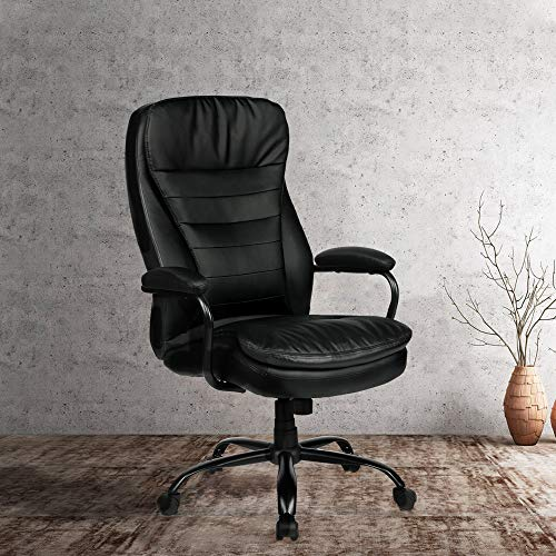 Amolife Big and Tall Office Chair/Heavy Duty Executive Computer Chair/Adjustable Desk Chair/Large Home Office Chair with Armrest/BIFMA Certification No 5.1