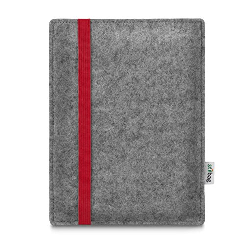 stilbag e-Reader Tasche Leon für Amazon Kindle Oasis (9. Generation) | Wollfilz hellgrau - Gummiband rot | Schutzhülle Made in Germany