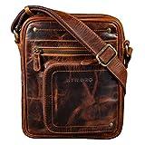 STILORD 'Randall' Vintage Mariconera Piel Bolso Mensajero Bolso Documentos DIN A5 para Tablet 9.4 Bolso Hombro de Cuero, Color:Kara - Cognac
