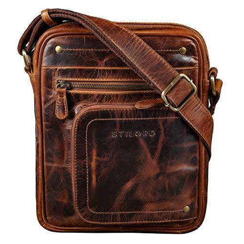 STILORD Randall Vintage Mariconera Piel Bolso Mensajero Bolso Documentos DIN A5 para Tablet 9.4 Bolso Hombro de Cuero, Color:Kara - Cognac