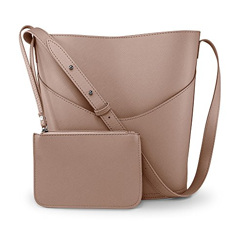 Oct17 Women Faux Leather Bucket Tote Shoulder Bag Fashion Ladies Handbag Purse with Small Bag - Taupe