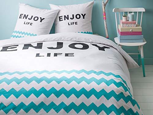TODAY California Dream Enjoy Life-Parure HC3 : Housse de Couette 220x240 + 2 Taies d'Oreiller 100% Coton, 57 Fils, Blanc/Turquoise, 220x240 cm