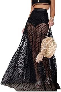 Women's Floor Length Polka Dot Sheer Mesh Lace Skirt Fashion Maxi Dress