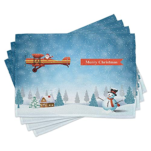 Christmas Place Mats Set of 4, Santa in a Plane Flying Over The Forest with Snowman Jolly Season Celebration, Washable Fabric Placemats for Dining Room Kitchen Table Decor