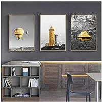 Llxhg黒黄色の風船灯台壁アートキャンバス絵画風景ポスターとプリントリビングルームの家の装飾のための風景写真-40X60Cmx3Pcsフレームなし