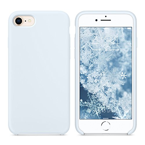 SURPHY Cover Compatibile con iPhone SE 2020/iPhone 8/iPhone 7, Custodia per iPhone SE 2020/8/7 Silicone Slim Cover Antiurto con Fodera in Microfibra Case per iPhone SE 2020/8/7 4.7', Blu Chiaro