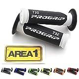 Progrip 732 Road - Puños de goma para manillar (incluye pegatina Area1), color negro y blanco