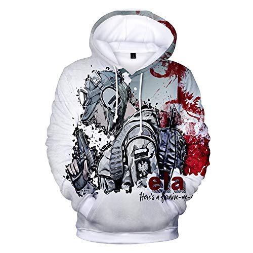 IFITBELT Herren Kapuzenpullover 3D Druck Rainbow Six Siege Hoodie Pullover, Damen Jungen Cosplay Hoody Sweatshirt Oversized 3XL, 4XL (EU L(Asian XL),SIX11)