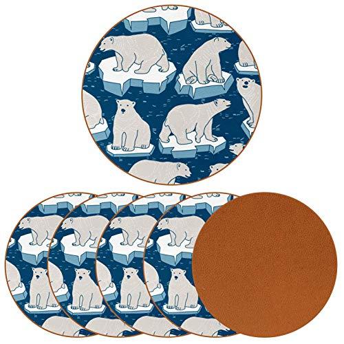 Posavasos para bebidas, diseño de osos polares sobre hielo de cuero, redondo, para proteger muebles, resistente al calor, decoración de bar de cocina, juego de 6