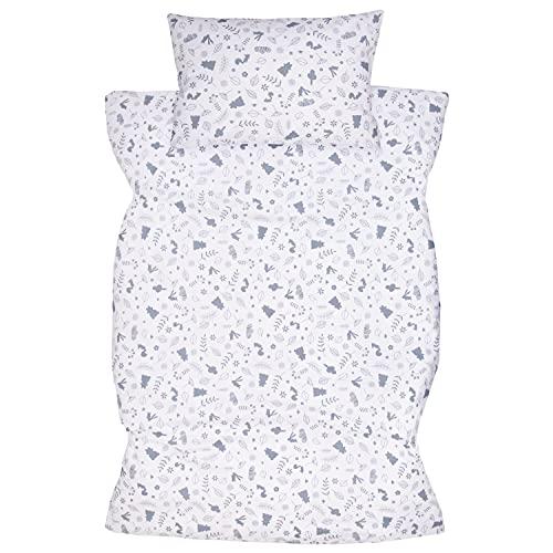 Amilian Ropa de cama infantil de 2 piezas, 100% algodón, ropa de cama para bebé, funda nórdica de 100 x 135 cm, funda de almohada de 40 x 60 cm, con cierre de hotel, animales del bosque