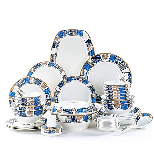 AYHa Bone China Blue Square Vajilla (48 Piezas) Vajilla personalizado exquisito plato verde chino vajilla de cerámica