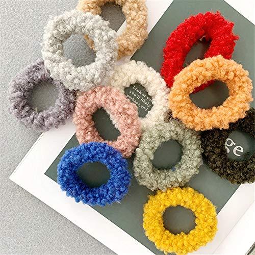 JOMSK Mädchen Frauen Lamm-Haar-Seil Farbe Fluffy Haar-Ring 15 Stück Süßigkeit-Farben-Einrollung Kopf Seil Gummiband (Color : Photo Color, Size : M)
