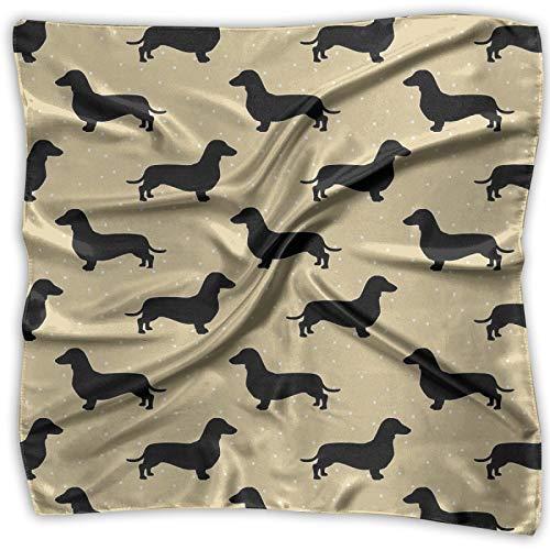 Kurzhaar Dackel Creme Muster Dackel Hund Unisex Multifunktionstuch Bandanas Schal Seide Pocket Square Taschentuch für Stirnband Wrap Schutzabdeckung 61 x 61 cm