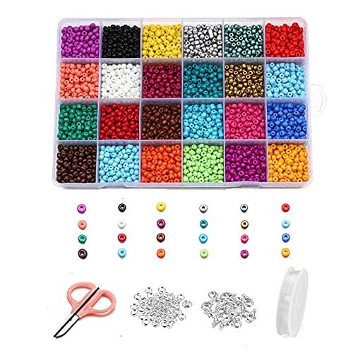 Chytaii - Perlas de rocalla de cristal, perlas de pony, colores opacos, para la fabricación de joyas, artesanía, decoración de bricolaje, regalo de cumpleaños (24 colores)