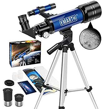 Emarth Telescope 70mm/360mm Astronomical Refracter Telescope with Tripod & Finder Scope Portable Telescope for Kids Beginners Adults  Blue