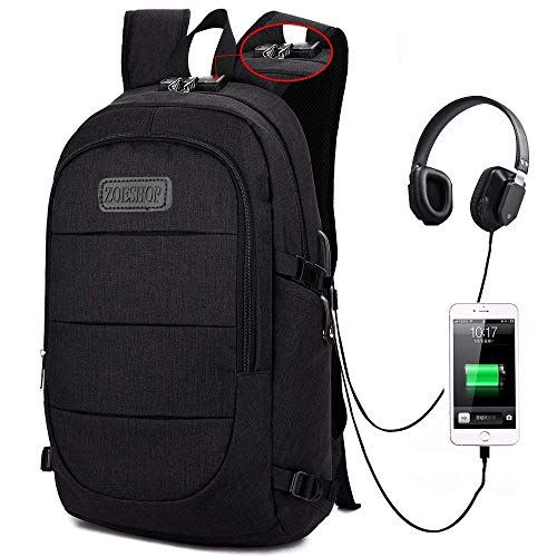 Travel Laptop Backpack,Anti Theft College School Bookbag with USB Charging Port & Headphone Interface for Women Men Boys Girls,Business Water Proof Computer Bag Fits Under 15.6 Inches Laptops(Black)