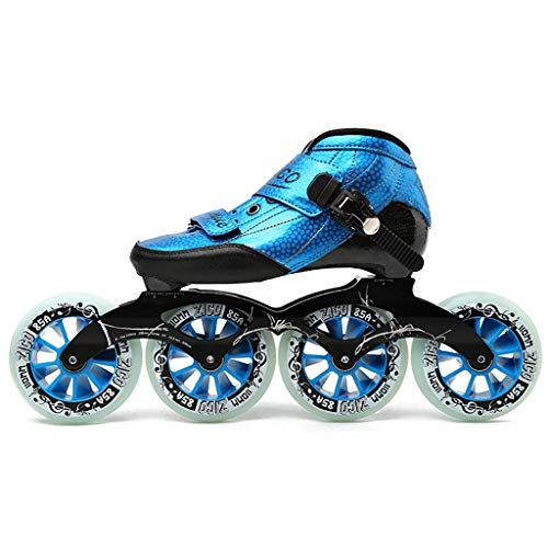 QSs-Ⓡ Patines EN LÍNEA Profesionales para Adultos, 4 * 90-110 MM Derby Wheels Profesional Carbon Fiber Rollerblade para NIÑOS Negro Inline Speed Skates Red Blue