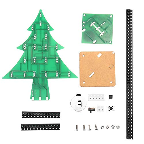 SenQing Elektronisches Lernkit DIY LED Flash Kit Buntes Licht Patch Stereo Weihnachtsbaum mit Musik DIY-Kit