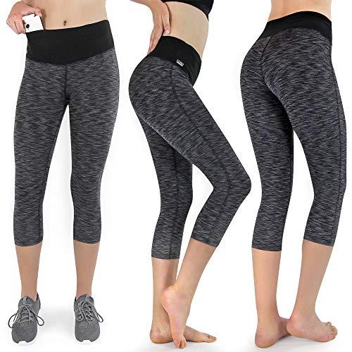 Formbelt Leggings-Laufhose 3/4 mit Tasche Gemustert meliert Capri Tights Damen schwarz grau S