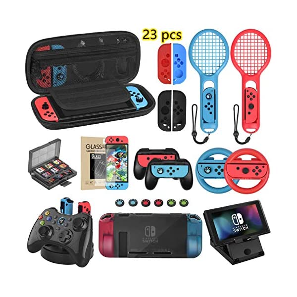 Welwel Accessories Bundle Compatible with Nintendo Switch, Accessories Kit with Carrying Case, 5 Angles Bracket, Charging Dock, 24 Games Case , Tennis Racket, Wheel, Grip, Screen Protector & More