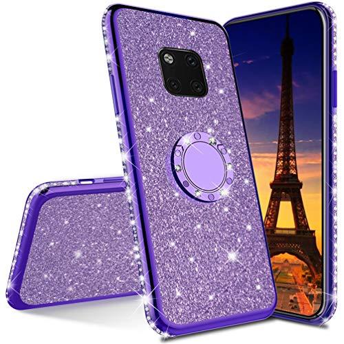 COTDINFOR per Huawei Mate 20 PRO Custodia Glitter Diamond Shining Custodia Cellulare Ragazze Luxury Bling Protettivo Antiurto Plating TPU Custodia per Huawei Mate 20 PRO - Purple Glitter
