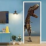 Hogar Puerta Pegatina 95 x 215 cm Papel Pintado Autoadhesivo y Calcomanía de extraíble para la Puerta Impermeable Diy Decoraciones-Dinosaurio