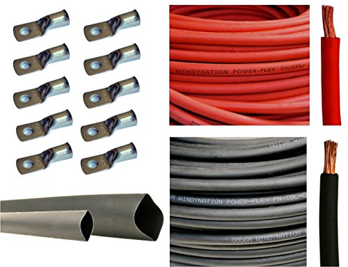 2 Gauge 2 AWG 10 Feet Red + 10 Feet Black Welding Battery Pure Copper Flexible Cable + 10pcs of 3/8