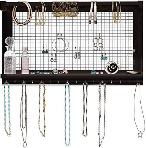 Comfify rustikaler Schmuckorganisator - Wandschmuckhalter mit abnehmbarem Armbandstiel, Ablage und 16 Haken - Perfekte Ohrringe, Halsketten und Armbandhalter - Vintage-Schmuckdisplay - Dunkelbraun