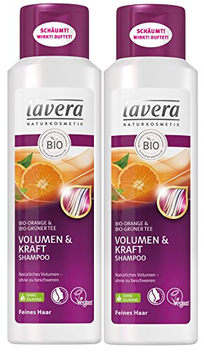 Lavera Haar Shampoo Volumen & Kraft ∙ Orange & Grüner Tee ∙ Feine Haare ∙ Vegan ✔ Bio Haarshampoo ✔ Natural & Innovative Hair Care ✔ Naturkosmetik ∙ Haarpflege 2Er Pack (2 X 250 Ml)