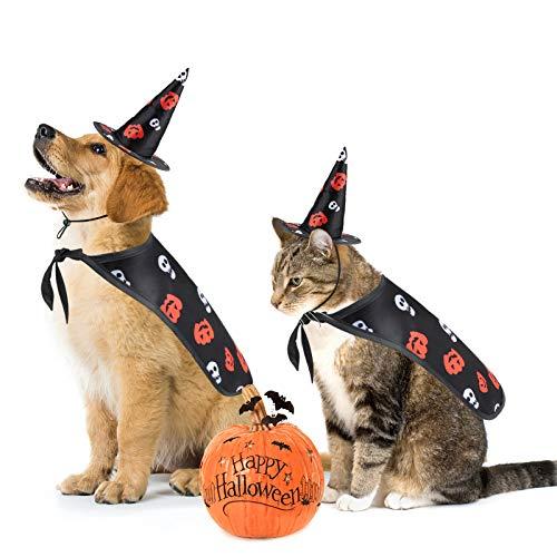 Idepet Perro Disfraz de Halloween Sombrero de Capa de Gato Capa para Mascotas Cosplay Cachorro Gatitos Rojo Negro Disfraz navideño de fantasía Ropa para Perros pequeños medianos Gatos