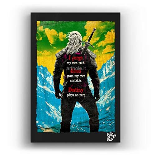 Geralt de la Serie de televisión The Witcher - Pintura Enmarcado Original, Imagen Pop-Art, Impresión Póster, Impresion en Lienzo, Cuadro, Cómics, Cartel de la Película