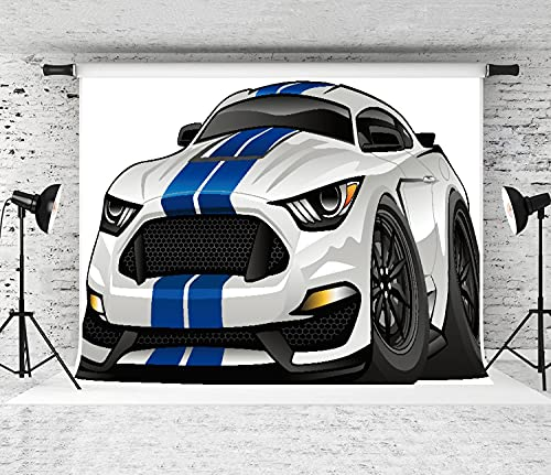LONSANT 5x7ft Photography Background Hot Modern American Muscle car Cartoon Backdrop for Children Birthday Party Decor Newborn Baby Portrait Photos Studio Props