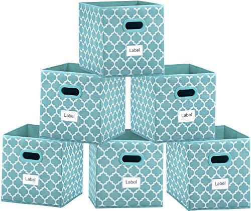 Foldable Cube Storage Bins 11x11 inches, Fabric Storage Bin Baskets Box Organizer with Labels and Dual Plastic Handles for Shelf Closet, Nursery, Set of 6 (Blue?