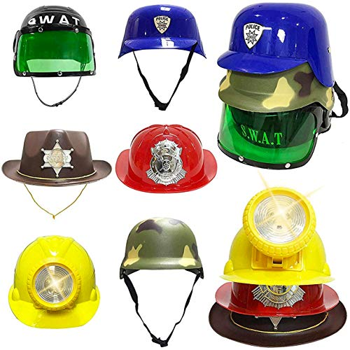 Liberty Imports Set of 6 - Dress Up Pretend Role Play Hats Helmets for Kids - Halloween Costume Role Play Variety Pack (Police, Fireman, Construction, SWAT, Cowboy, Army)