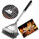 POLIGO BBQ Grill Brush and Scraper Bristle Free - 18inch Stainless Steel BBQ Cleaning Brush - with Super Wide Scraper...