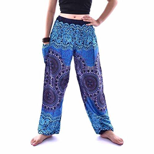 URSING Unisex Thai Harem Hosen Vintage Retro Boho Festival Hippie Smock Hohe Taille Lang Hosen Yoga Hosen Sommerhosen Damenhosen Freizeit Hose Sporthosen für Männer Frauen (Free Size, Blau)