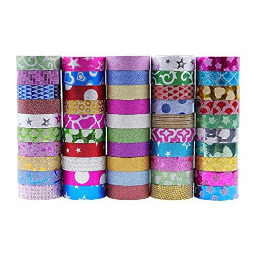 Lychii Juego de 50 Rollos de Cinta Washi con Purpurina, Cinta Adhesiva Decorativa de Varios Patrones para Manualidades, Diarios, Planificadores Diarios, Envoltorios de regalo
