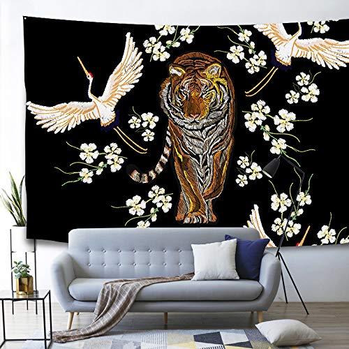 GenericBrands Tapiz de pájaros Estilo Chino Hada Grúa Decoración de Pared para Dormitorio Sala de Estar Dormitorio Yoga Picnic Mat Fondo de televisión